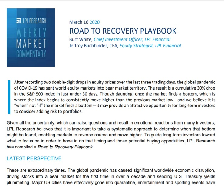 Road TO Recovery Playbook | Weekly Market Commentary | March 16, 2020