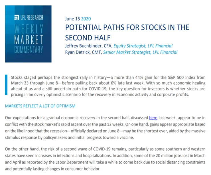 Potential Paths For Stocks In The Second Half   Weekly Market Commentary   June 15, 2020