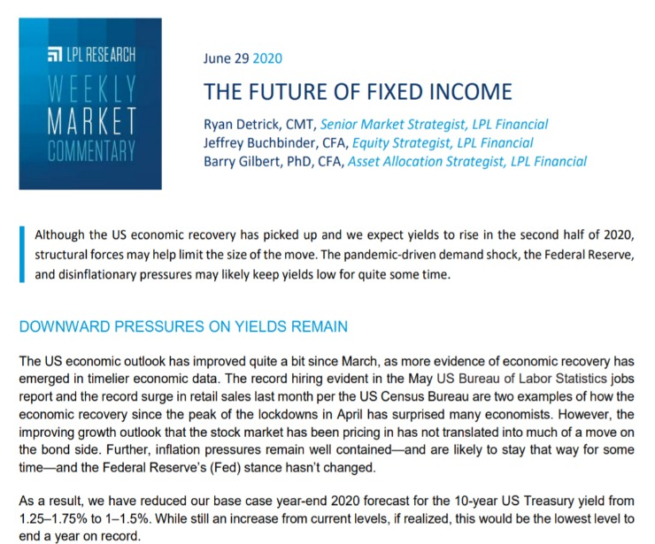 The Future of Fixed Income   Weekly Market Commentary   June 29, 2020