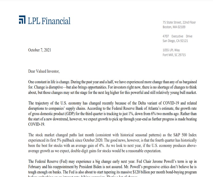 Client Letter   Change May Bring Opportunities   October 7, 2021